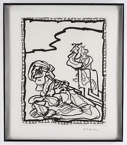 Pierre alechinsky,  etsning & linoliumsnitt, 1989, signerad 2/125.
