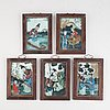 Five chinese reverse glass paintings, 20th century.