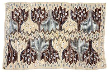 "203. Ann-Mari Forsberg, född Lindbom, a textile, ""Blå crocus"", tapestry weave, ca 55,5-57 x 84,5-88,5 cm, signed AMF."