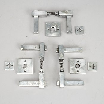 Three pairs of chrome door handles, 1930's.