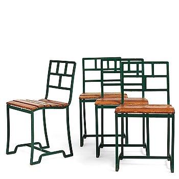 301. Carl Hörvik, a set of four iron framed garden chairs, ca 1927-1929, probably by Grythyttan Sweden for Lindgården, Stockholm.