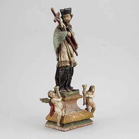 A religious wooden sculpture, 18th/19th century.