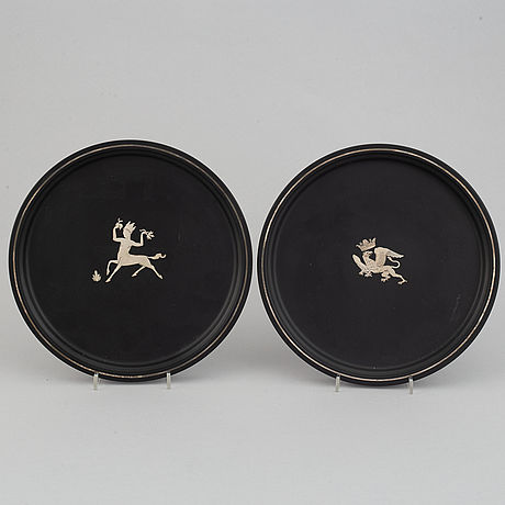"""Wilhelmina """"tiddit"""" wendt, two isolit and silver dishes, perstorp, 1941 and 1944."""