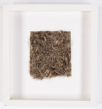 Meta Isæus-Berlin, invitation card to the opening at Galleri Mejan, hair mounted to panel.