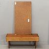 Hallmöbel, glas & trä, hovmantorp, 1900-talets mitt, spegel, byrå.