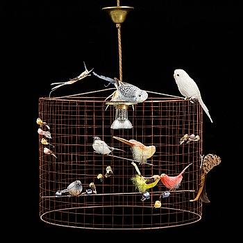 Mathieu Challieres, a ceiling lamp /bird lamp, 'Grande Volière'.