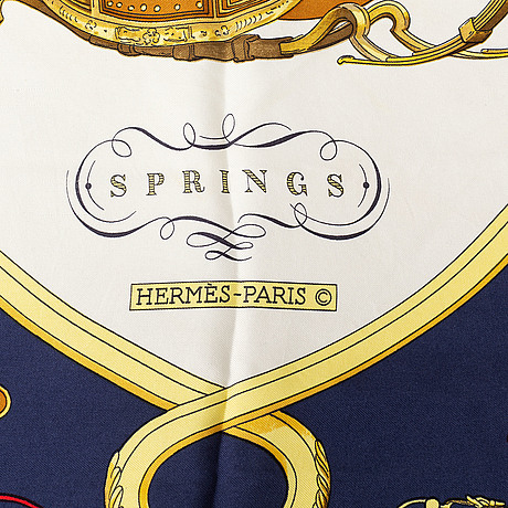 Hermès, a 'springs' silk scarf.