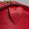 Louis vuitton, a red epi weekend bag 'keepall 55'.