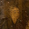 Unknown artist, oil on leather laid on panel, qing dynasty (1644-1912).