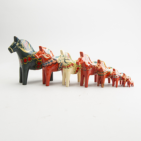 Dala horses, 8 pcs, 1900s.