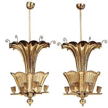 281. A.W. Borgh, a pair of Swedish Grace brass chandeliers, probably 1920-1930's.