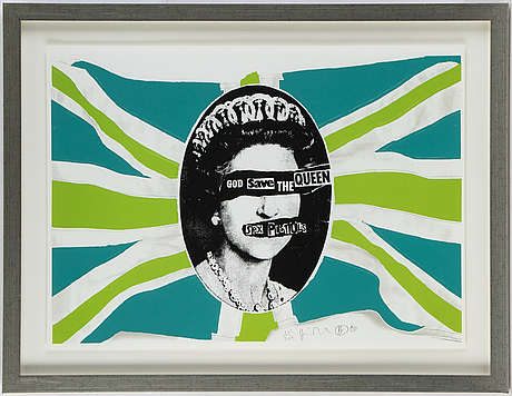 Jamie reid, serigraph in color signed and numbered 103/200 dated 97.