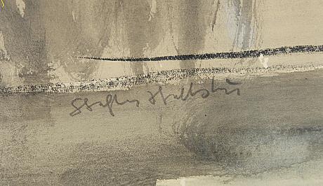 Staffan hallström, akvarell, signerad.