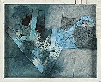 Vide Janson, bemålad relief, signerad och daterad 1980 a tergo.