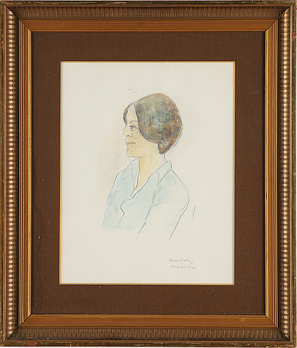 Einar jolin, watercolour, signed and dated aug 1976.