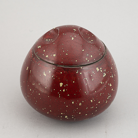 A faience jar with lid, signed hans hedberg, biot, france.