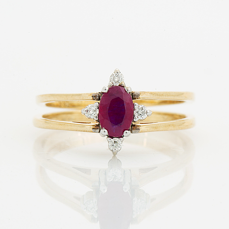 Sapphire, ruby and diamond ring.