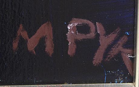 Madeleine pyk, oil on panel, signed m pyk.