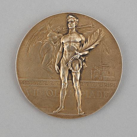 Olympic winner medal, antwerp 1920, gilt silver, coosemans bruxelles.