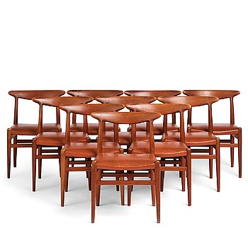 "413. Hans J Wegner, a set of 10 teak ""W2"" chairs, C M Madsen, Denmark, 1950's."