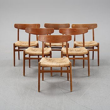 Six matched model CH-23 'Spisestolen' chairs by Hans J Wegner for Carl Hansen & Son, designed 1951.