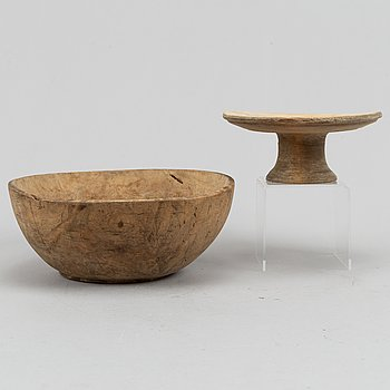 Sovelfat samt skål, trä, allmoge, 1800-1900-tal.