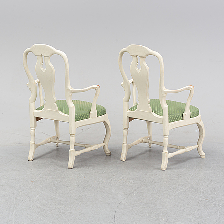 A pair of rococo armchairs, mid 18th century.