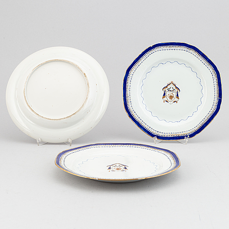A set of eight (6+1+1) plates, qing dynasty, jiaqing (1796-1820).