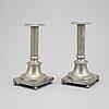 A pair of swedish gustavian pewter candlesticks, mark of peter höijer, örebro (1796-1819).