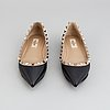 Valentino, a pair of studded leather ballerina pumps, size 36½.