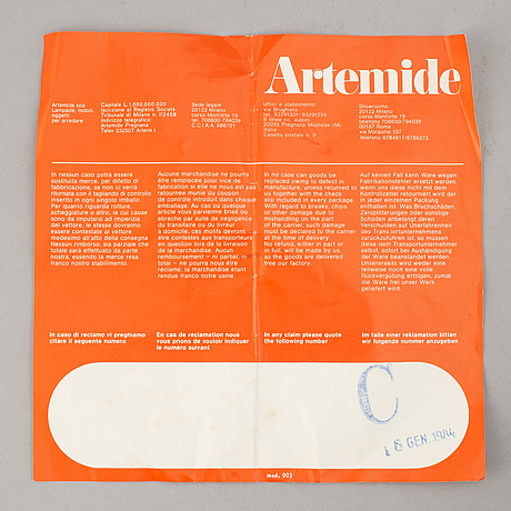 "Ernesto gismondi, takarmatur, ""sintesi"", artemide, 1980-tal."