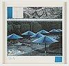 Christo & jeanne-claude, färgoffset med tygapplikation, diptyk, 1991, signerade.