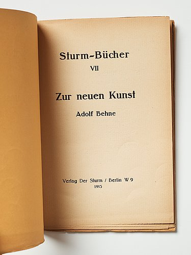 Exhibition catalogue and books (2) from der sturm plus a photo depicting gösta adrian-nilsson (gan).