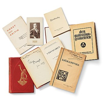 489. Books/Pamphlets (6) and a photo depicting Gösta Adrian-Nilsson.