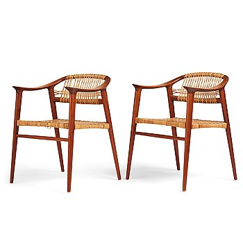 """403. Rolf Rastad, & Adolf Relling, a pair of teak and rattan """"Bambi"""" easy chairs by Rastad & Relling, Norway 1950-60's."""