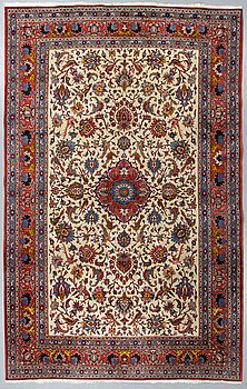 A carpet, Old Tehran, probably, part silk, ca 302 x 210 cm.
