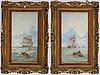 Adolphus knell, a pair. signed. panels, 39 x 21 cm each.