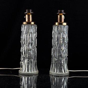 A pair of 20th century glass table lamps, AB Tranås Stilarmatur, Sweden.
