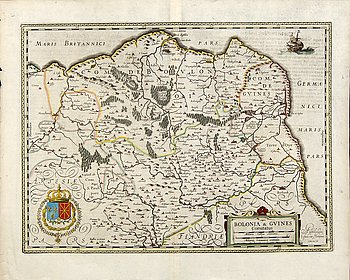 Jodocus Hondius, hand colored engraving, map France Pas-de-Calais, Amsterdam c 1630-50.