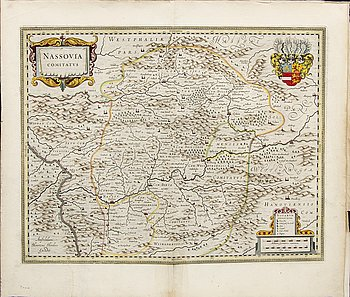 Hendrik Hondius & Joannes Jassonius, three maps, hand colored engravings, Amsterdam c 1630-50.