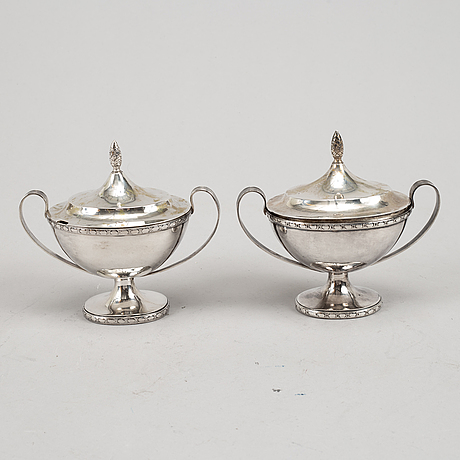 A pair of swedish empire style silver sugar bowls, mark of bengt ericsson, stockholm 1934-35.