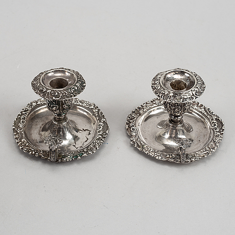 A pair of swedish silver chamber candlesticks, mark of hans georg vogt and hg vogt & söner, kristianstad, one 1853.