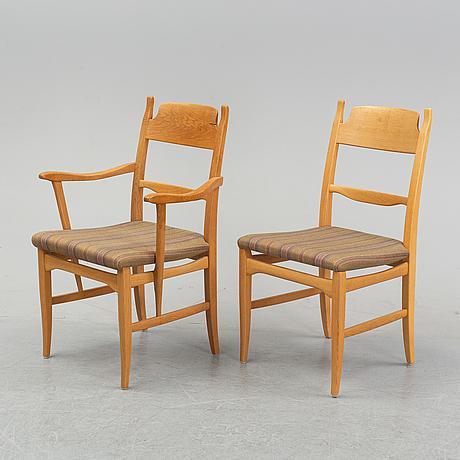 Carl malmsten, an oak seven-piece 'calmare nyckel' dining suite, åfors möbelfabrik.