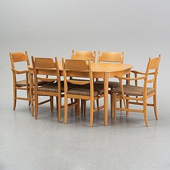 """Carl Malmsten, matsalsgrupp, 7 delar, """"Calmare Nyckel"""", Åfors Möbelfabrik."""