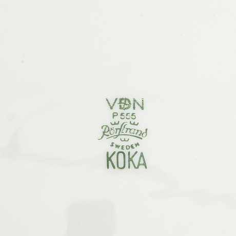 "Hertha bengtson, 44 pcs ""koka"" porcelain plates, rörstrand, sweden."