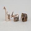 Gunnar cyrén, figuriner, 3 st, silverpläterad zink, dansk designs, japan.