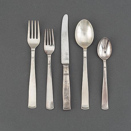 """Jacob ängman, bestickuppsättning, 45 delar, silver, """"rosenholm"""", gab, bl a eskilstuna 1979."""