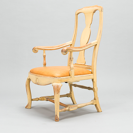 A swedish, late baroque style armchair from the mid 18th century.
