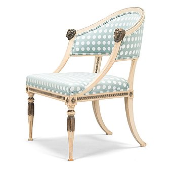 A late Gustavian armchair, Stockholm around 1800.