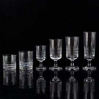 A glass service, 69 pcs, from Kosta, 20th century.